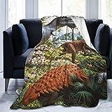 LUCKY Home Manta con diseño de dinosaurios en 3D, ultra suave, gruesa y de microfibra para todas las estaciones de la estación, manta de forro polar de franela para sofá de 152 x 127 cm