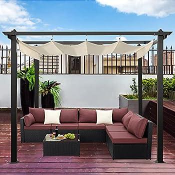 AVAWING Large Outdoor Pergola Retractable Canopy Garden Gazebo Aluminum Frame Grape Trellis with Sun Shade Cover