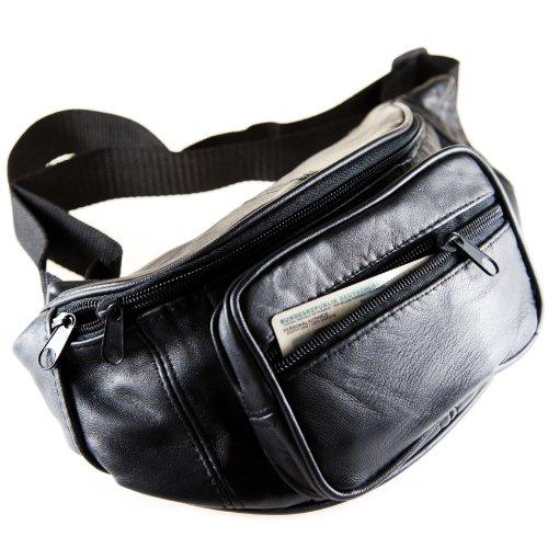 Christian Wippermann butterweiche echt Leder Bauchtasche Hüfttasche Waist Bag Outdoor Tracking Schwarz für Herren Damen