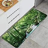 ELIENONO Küchenteppich,Grüner Wald des natürlichen Bambusdekors,waschbar rutschfest Teppichläufer Küchenläufer für Flur,Wohnzimmer,Küche,Schlafzimmer