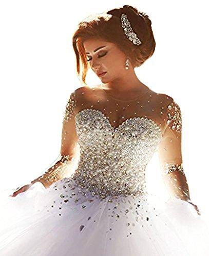 Carnivalprom Damen Prinzessin Hochzeitskleider Strass Perlstickerei Brautkleider Brautmode Lange(Weiß,36)
