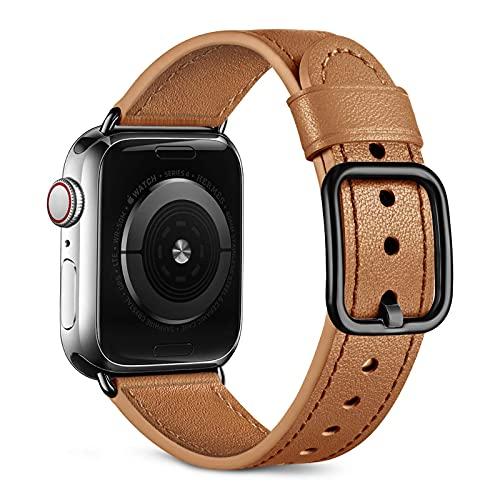 Oielai Correa de Cuero Compatible con Apple Watch Correa 38mm 40mm 42mm 44mm, Suave Genuino Cuero Reemplazo Correa para iWatch SE/Series 6 5 4 3 2 1, 42mm/44mm, Caramelo