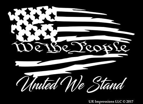 UR Impressions MWht We The People United We Stand - Tattered American Flag Decal Vinyl Sticker Graphics for Cars Trucks SUV Vans Walls Windows Laptop|Matte White|7.5 X 5.1 inch|URI490-MW