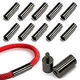 Moamun, 20 tappi terminali per la creazione di gioielli, chiusura a pressione per collana e bracciali, in pelle, Nero , 2 mm
