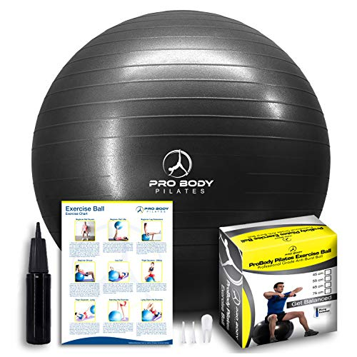 ProBody Pilates Exercise Ball - Professional Grade Anti-Burst Fitness, Balance Ball for Yoga, Birthing, Stability Gym Workout Training and Physical Therapy - Work Out Guide Included (Black, 85 cm)