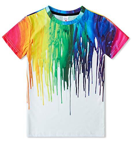 Idgreatim Ragazzo t Shirt da Ragazze Manica Corta Girocollo Tee 3D Stampato colorato Inchiostro Ragazze Bambini Magliette Top 6-8T