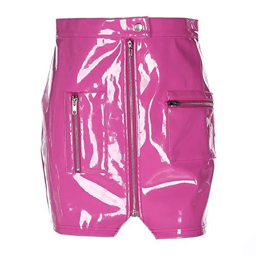 Shouda Falda Corta para Mujer, decoracin con Cremallera, Minifalda Y2k de Cintura Alta a la Moda, Minifalda Harajuku Estilo Punk, Bolso Rosa, Falda a la Cadera para Fiesta