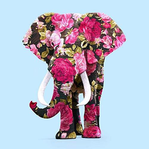 Gabapipa DIY Peinture Numérique,pour Adultes Enfants Seniors Débutant avec Brosses et Peintures Acryliques Peinture par Numéro Kits - Rose tatouage éléphant 16 x 20 Pouces Sans Cadre