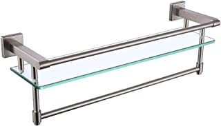 Iriber Tempered Glass Shelf with Towel Bar and Rail, Bathroom SUS304 Stainless Steel Towel Rack Holder Wall Mount, Heavy-D...