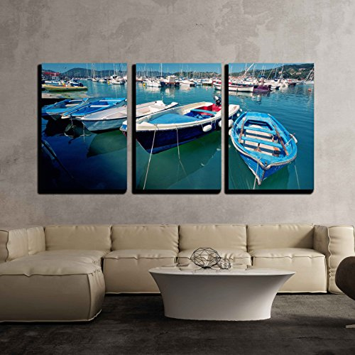 "wall26 - 3 Piece Canvas Wall Art - Lerici, Cinque Terre, Liguria, Famous Holiday Place in Italy - Modern Home Decor Stretched and Framed Ready to Hang - 16""x24""x3 Panels"