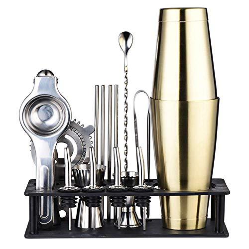 MIEMIE Kit de Fabrication de Cocktails Boston Shaker Set Bartender 17 pièces Bar Perfect Home Tool avec Accessoires Recettes Exclusives DIY