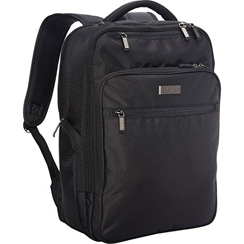 "Kenneth Cole Reaction Brooklyn Commuter Slim Backpack 16"" Laptop & Tablet Business, School, & Travel Computer Bookbag, Black Polyester"