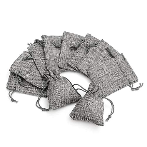 Yongse 10PCS Grey Burlap Bags Jute Hessian Drawstring Bag Small Wedding Favor Gift