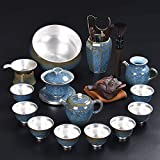 ZHQHYQHHX - Tetera de plata para ceremonias de té con agua caliente hecha a mano, café chino, tetera para fiestas y adultos (color: 7, tamaño: gratis)