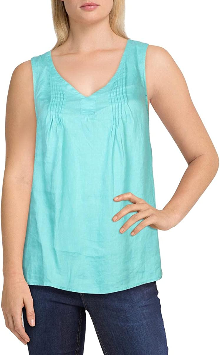 Vince Camuto Womens Linen V-Neck Muscle Tank Green L