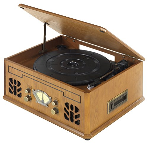 iTek I60011 4-in-1 Antique Record, CD, Cassette and Radio Player AM/FM, Built-In Headphone Jack, 2 x...