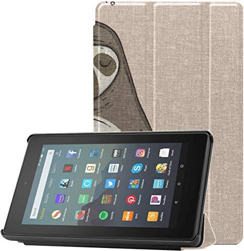 Fundas para tabletas con diseño de Animal Sentado en Yoga Lotus Pose para Kindle para Tableta Fire 7 (novena generación, versión 2019) con Reposo/Despertar automático