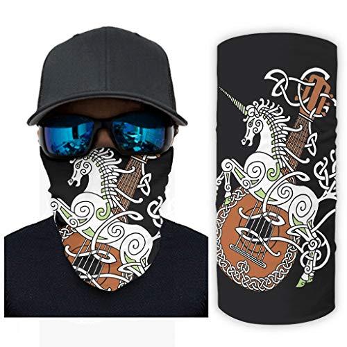 NA eenhoorn gitaar tattoo druk bandana gezichtsmasker zonnebescherming sjaalgezichtsmasker