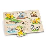 New Classic Toys-10538 Nuevos Clásicos Juguetes-2042924-Puzzle con Marco con Botones-Safari, Color madera (2042924) , color/modelo surtido