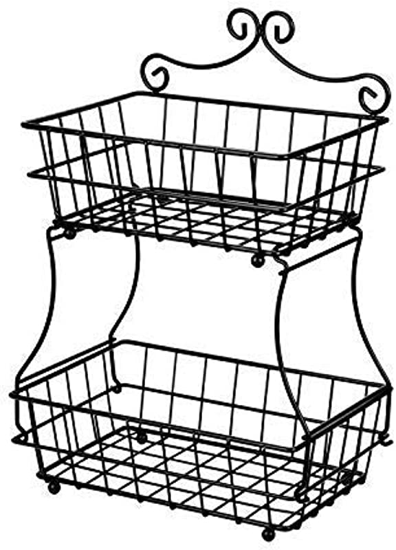 Linkfu 2 Tier Fruit Bread Basket Removable Screwless Metal Storage Basket Rack For Snack Bread Fruit Vegetables Counter Table Kitchen And Home Black