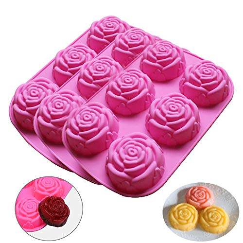 Moldes de Silicone de 6 cavidades en forma Forma de Rosa - 3PCS Antiadherente Moldes para jabón Tartas, Repostería, Bizcocho, Gelatina, Jabón, Muffin, Pudín