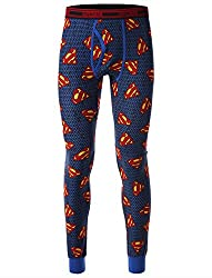 Men's long underpants with Superman pattern.