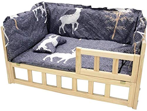 UIZSDIUZ Haustierbett Holz-Haustier-Bett mit abnehmbarem Polster und Kissen, Innen Holz Hund Katzen Haustier Katzen Bett Massivholz All Seasons Katzenbett (Color : Style2, Size : S(L56×W39xH39cm))