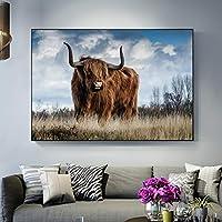 ハイランド牛の草北欧アートポスターとプリント動物アート写真壁の装飾リビングルームの風景画60x90cmフレームレス