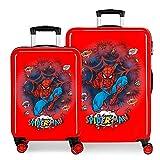 Marvel Spiderman Pop Juego de Maletas Rojo 55/68 cms Rígida ABS Cierre combinación 104L 4 Ruedas Dobles Equipaje de Mano