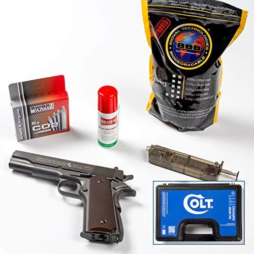 Colt Cybergun Kit Pistola Softair 1911 Anniversary Semiautomatica Full Metal a C02 0,9 Joule Peso 976g Valigetta + 5 Bombolette + BB Loader + Sacchetto Pallini Bio 1 kg Bianchi 0,20g +Olio Ballistol