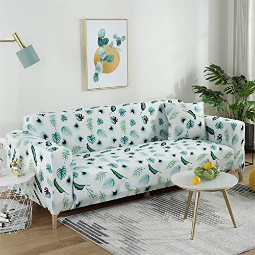 Eck-Stretch-Sofabezug, rutschfeste Polyester-Sofabezug, L-Ecke (1/2/3/4 Sitz Bananenblatt 90X140Cm