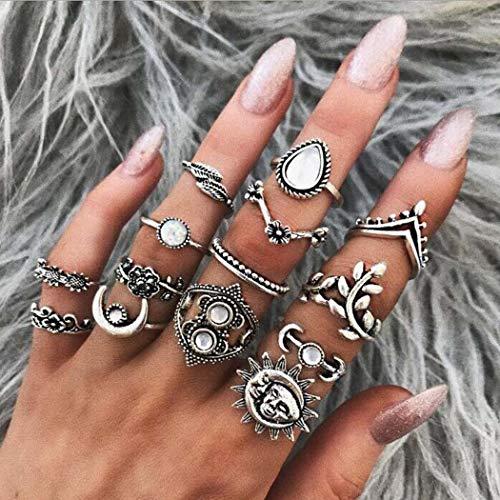 Simsly - Juego de anillos de flores bohemios con luna plateada, anillos apilables de diamantes de imitación, anillo de dedo con forma de hoja, joyería para mujeres y niñas