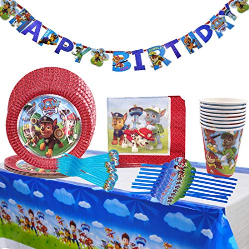 Paw Patrol Accesorio de Decoración de Fiesta de Cumpleaños, Decoración de cumpleaños de Paw Dog Patrol, Platos, tazas, servilletas manteles, para fiestas y cumpleaños infantiles