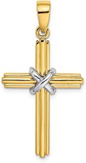 14k X Center Pendant Charm Necklace Religious Cross Fancy Fine Jewelry Gifts For Women For Her