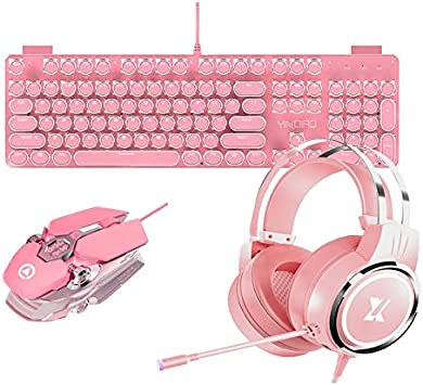 YFC Pink Girls Gaming Sets Combo de Auriculares con Mouse y ...