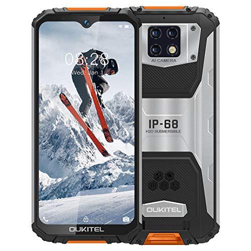 OUKITEL WP6【2020】, IP68 Outdoor Smartphone Ohne Vertrag, 10000 mAh Akku (18 W Schnellladung), 16 MP Quad-Kamera, Helio P60 4 GB + 128 GB, 6,3 Zoll FHD + Robustes Handy, DUAL SIM GPS WiFi Orange