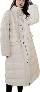 Women Hooded Lightweight Long Down Jacket Color Block Warm Maxi Loose Quilted Padding Parka Puffer Coat