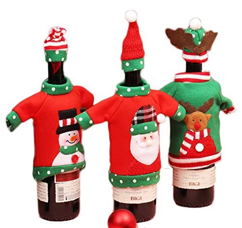 Tischdeko weihnachten, weihnachtsdeko amerikanisch 3 Stück Wein Champagnerflasche mit Weihnachtsmannmuster, Weihnachtsvliesbeutel, Abendessendekoration, Familientreffen, Familienweihnachtsdekoration