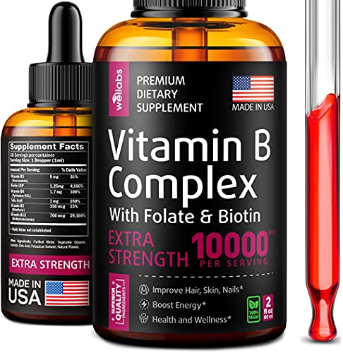B Complex Liquid Supplement - Energy & Metabolism Boost - Made in USA - Vitamin Drops for Stronger...