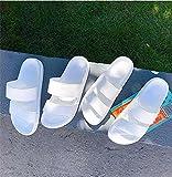 JFHZC Zapatillas para Ducha,Sandalias y Pantuflas de plástico de Suela Gruesa Antideslizantes de Interior para el hogar de Verano, Pantuflas de baño para Parejas-White_44-45
