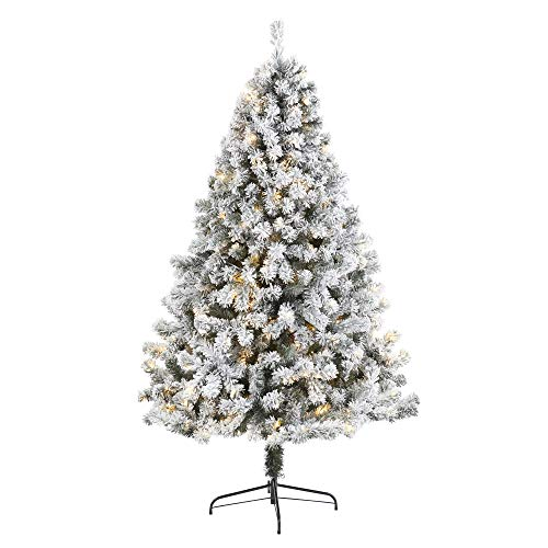 7ft. Flocked West Virginia Fir Artificial Christmas Tree with 350 Clear LED Lights