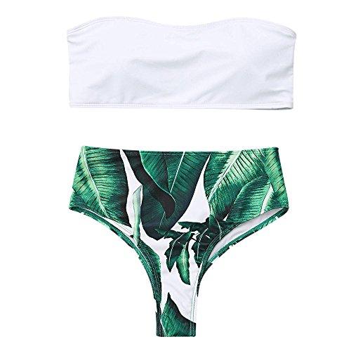 Zaful Donna Motivo a Foglie di Palma in Due Pezzi di Bikini Imbottito Costume da Bagno a Vita Alta Abbigliamento Estivo Beachwear Nessuna Tracolla (Bianco, M)