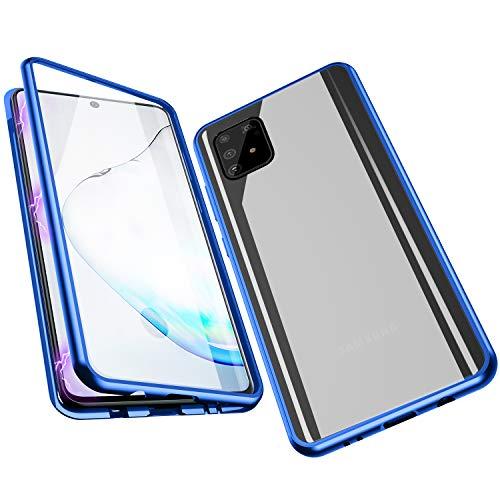 Jonwelsy Hülle für Samsung Galaxy A91 / S10 Lite, Magnetische Adsorption Metall Stoßstange Flip Cover mit 360 Grad Schutz Doppelte Seiten Transparent Gehärtetes Glas Handyhülle für A91 (Blau)