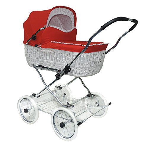 EICHHORN Weidenkorb Kinderwagen Korb Weiß Stoff Rot