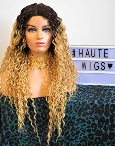 Haute Wigs Beyonce Perücke, 76,2 cm, blond, Ombre, schwarz, gelockt, vorgestanzt, Lace-Front, Wasserwelle, Perm, Echthaar