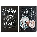 LZYMSZ 2 Carteles de Metal de Metal con Diseño de Menú de Café, Metal de Hierro Retro, Arte Vintage, para la Pared, para Cafetería o Bar, 20 x 30 cm