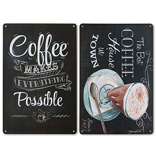 LZYMSZ 2 Stück Coffee Menu Blechschild Metall Eisen Retro Vintage Kunst Cafe Bar Wand Deko Schild Poster The Best Coffee House in Town, Coffee Makes Everything Possible 20 x 30 cm