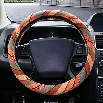 Copap Car Steering Wheel Cover 15 inch Yellow Baja Blanket Woven Cloth Fit Most Auto Cars Coarse Flax Cloth