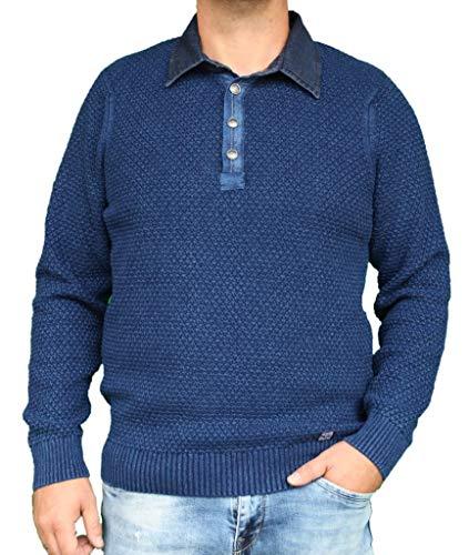 Piece of Blue heren polo pullover ruit indigo of sky wash 100% katoen, exclusieve gebreide trui - opvolger van Blue Willis maat M, maat L, maat XL, maat XXL, maat XXXL