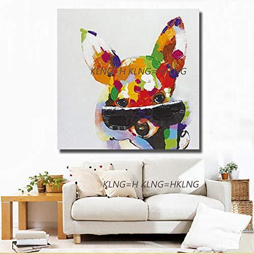 mmzki Pintura al óleo de la película Pintura Original Lienzo decoración de Arte Gran Animal Abstracto Pintura al óleo sobre Lienzo Perro Grande tam-70x70CM_KH3